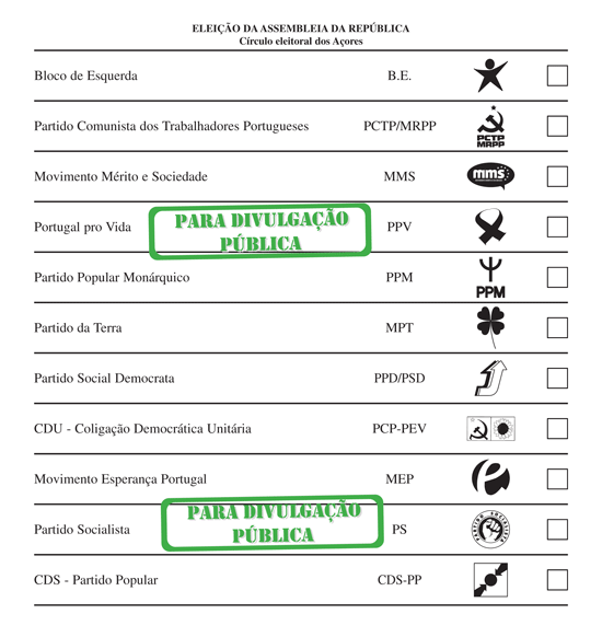 Exemplo cédula eleitoral de Portugal Crédito: portaldoeleitor.pt