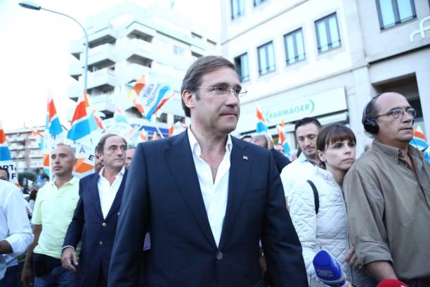 O atual primeiro.ministro, Passos Coelho, durante a campanha legislativa Crédito: PàF/Divulgação