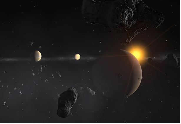 Concepção artística da estrela mu Arae e seus planetas Crédito: Reprodução/IAU