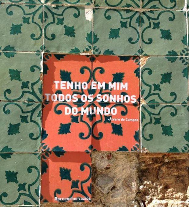 Intervenção em Lisboa tem frase de heterônimo de Fernando Pessoa | Crédito: Divulgação