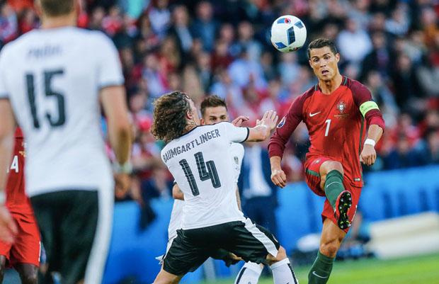 O jogador português Cristiano Ronaldo em campo na Eurocopa (Foto: Federação Portuguesa de Futebol)