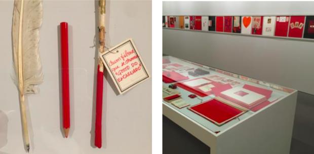 """Parte da instalação """"Un Autre Livre Rouge"""", de Lourdes Castro"""