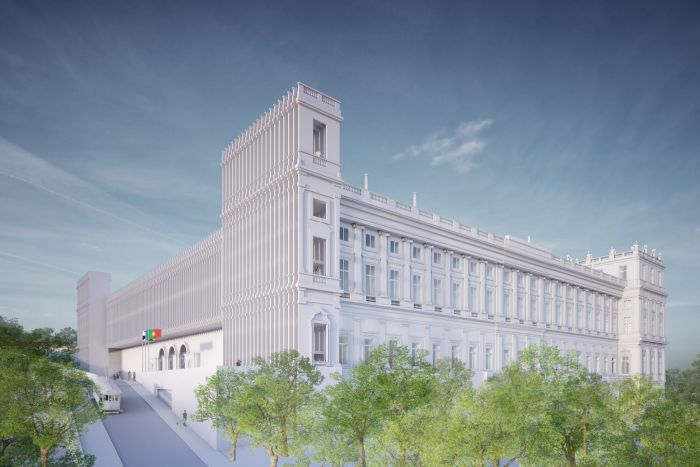 Concepção artística do projeto do palácio finalizado | Crédito: Divulgação