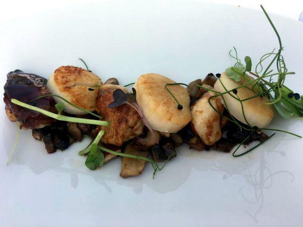 Restaurantes incorporam os cogumelos a vários pratos. Este são asas de pintas com molho teryaki, vieiras e cogumelos, no restaurante DOC no Norte de Portugal | Foto: Giuliana Miranda