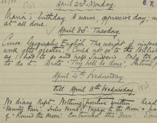 Manuscrito de Fernando Pessoa do período em que viveu na casa; inglês é predominante | Foto: Reprodução