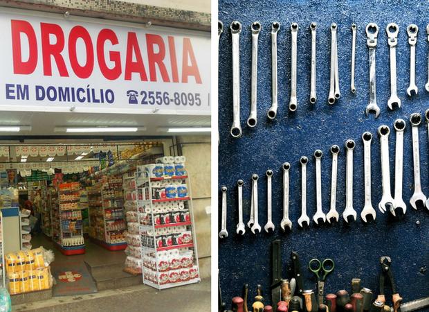 Em Portugal, as drogarias vendem produtos químicos, remédios e material de construção | Fotos: Eduardo P./WikiCommons e Pexels