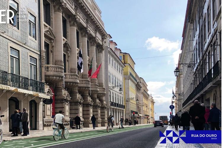 Ruas da Baixa de Lisboa ganharão novas ciclovias | Imagem: Divulgação CML