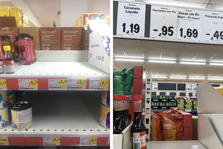 Prateleiras de fermento estão vazias em vários supermercados portugueses | Fotos: Reprodução e Giuliana Miranda/Folhapress